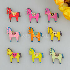50/100pcs Mixed Horse Wooden Buttons 2 Holes Sewing Scrapbooking Cardmaking DIY