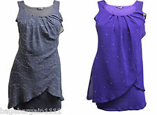 NEW LADIES PURPLE SILVER GREY SPARKLY SEQUIN EVENING FLOATY TUNIC CAMI TOP DRESS