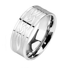 316L Stainless Steel Men's Celtic Knot Symbol Designed Band Ring Size 9-15