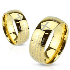 316L Stainless Steel Gold Lord's Prayer Wedding Band Ring Size 5-13