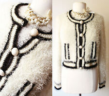 NEW Ivory Black Gold Trim Faux Pearl Fluffy Soft Sweater Knit Cropped Cardigan