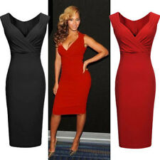 Womens Ladies Sexy V-Neck Bodycon Cocktail Party Evening Slim Dresses Size 8-18