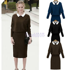 New Womens Ladies Bodycon Long Sleeve Peter Pan Collar Knitted Midi Dress