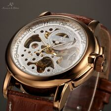 KS Mens Skeleton Dial Classic Sport Automatic Mechanical Leather Strap Watch