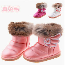 New Real Rabbit Fur and Pu Leather Children Shoes 2014 Winter Children Snow Boot