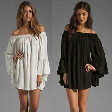 Sexy Womens Boho Solid Ruffle Sleeve Off Shoulder Mini Dress Tunic Tops Dresses