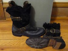 REDUCED NIB AUTHEN FIORENTINI BAKER BOOTS EPIC BLACK SHEARLING LEATHER
