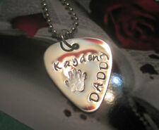 Personalized Handmade Stamped Guitar Pick For DADDY w/ Child Name & Handprint