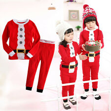 NEW Xmas Santa Claus Baby Kids Children Nightwear Pajamas Sleepwear Pyjamas Set