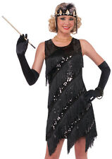 Sexy 1920s Black Sequin Fringe Flapper Halloween Costume Dress