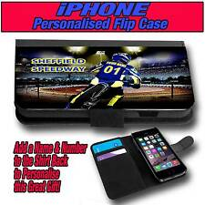 PERSONALISED SHEFFIELD TIGERS SPEEDWAY iPHONE 4 s 5 s 5 c LEATHER FLIP CASE
