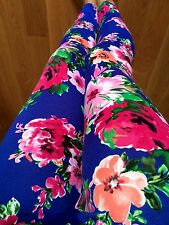 PICK FLORAL leggings PINK CORAL ROSES PONTI THICK POLYESTER S M L 1X 2X 3X