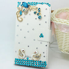 3D Swan Bling Diamond Crystal Card Wallet Pouch Leather Case Cover For Sony
