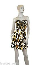 NWT SKY BRAND Women's Party Sexy Onyx Gemstone Deco leopard Print Mini Dress