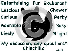 Chinchilla ~ My Obsession, Any Questions? T-shirt ~ Our Original Design