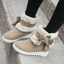 Winter Women's Warm Ankle Boots Cute Bowtie Faux Fur Low Heel Mid Calf Snow Boot