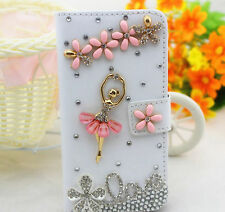 Love Ballet Bling Diamond Crystal Card Wallet Pouch Leather Case Cover For Nokia