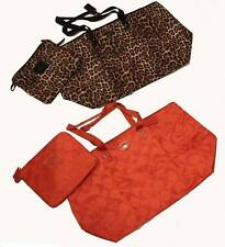 COACH 2-Pc LEOPARD or VERMILLION Large Tote & Cosmetic Bag NWT MSRP $198