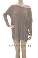 C2 TAUPE BOXY TOP Off the Shoulder Loose Shirt Tunic Long Sleeve Oversize S M L