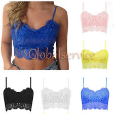 New Womens Ladies Sexy Lace Strappy Bralet Bra Crop Top Party Going Out 8 10 12