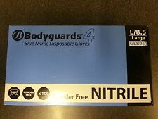 Bodyguards 4 Blue Disposable Nitrile Gloves Powder Free - 100 Gloves GL895
