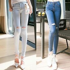 Womens Ladies Jeans Ripped Destroyed High Waist Blue Denim Pants Skinny Stretch