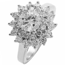 Dazzling Sterling Silver 0.75 Ct Round Cut Solitaire CZ w/CZ Accents Ring Sz 6-9