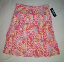 NWT NEW womens pink orange yellow green floral CHAPS tiered peasant skirt $69