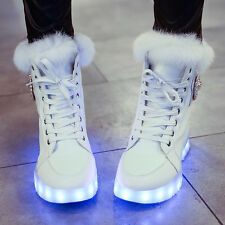 Women's Chic LED Light Top Fur Round Toe Lace Up Rhinestone High Top Ankle Boots