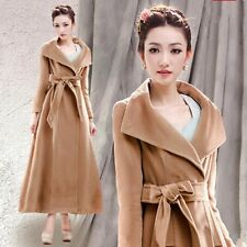 Women's Golilla Belted Thicken Wool Full Length Long Windbreaker Duct Coats Slim