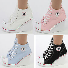 Wedges Trainers Heels Sneakers Platform High Top Ankles Lace up Zip Boots Canvas