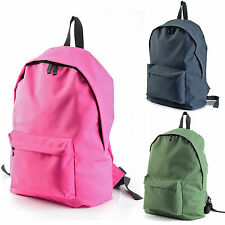 Fashion Mens Womens Unisex Hiking Travel Canvas School Bag Plain Color Backpack