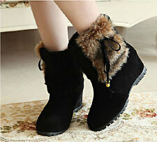 New Fashion Women Girls Winter Warm Snow Wedge Heel Ankle Boot Fur Tassel Shoes