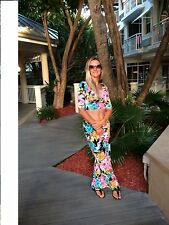 High waisted FLORAL print PALAZZO long pants wide legs Crop top Polyester S M L