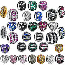 New Crystal Silver charms Bead in costume jewellery Fit 925 UK Sterling Bracelet