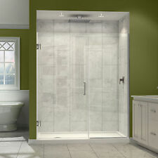 DreamLine Unidoor Plus 72 in. H x 60 - 61 in. W Frameless Hinged Shower Door, Cl