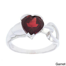Oravo Sterling Silver Heart-cut Gemstone Ring