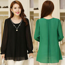 Womens Casual Chiffon Top Blouse Long Sleeve Loose Shirt Black Green M-XXXXL