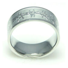 Men's Engraved Barbed Wire Stainless Steel Ring