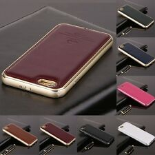 High Quality Metal Aluminum Frame Genuine Leather Back Case Cover Skin For Phone