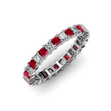 Ruby & Diamond Princess Cut Eternity Band 3.02 ct tw-3.65 ct tw 14K Gold