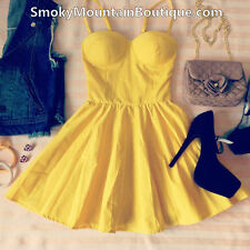 Sexy Yellow Bustier Dress with Adjustable Straps - Size S/M/L