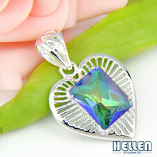 50% OFF Heart Rainbow Mystical Topaz & Amethyst Gems Silver Necklace Pendant NEW