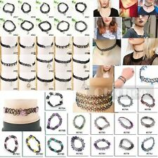Black Vintage Stretch Tattoo Choker Necklace Charms Plastic Elastic 90S Chocker