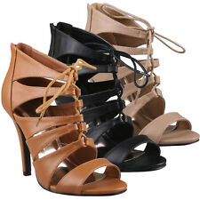 Refresh SOPHEE-05 Women Cage Gladiator Strappy Lace Up Boot Sandal Stiletto Heel