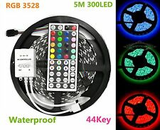 New 5M Flexible SMD RGB 3528 Waterproof LED Light Strip 300 LED+44 Key IR Remote