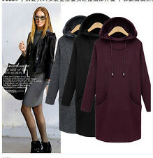 Winter/Autumn Womens Fashion Elegant Casual Loose Thick Cotton Hooded Dress