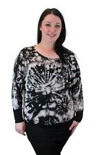 New Ladies Womens Long Sleeve Tie Dye Splash Print Batwing Top Sizes 14-28