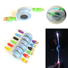 Retractable 2.0 Micro USB Data Sync Charging Cable Lead LED Light Up For Phones