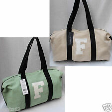 French Connection FCUK Green Cream F Varsity Holdall Weekend Gym Travel Bag